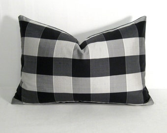 "SALE - Black White Silk Pillow Cover, Gray Plaid Tartan, Decorative Silver Charcoal Cushion Cover, Preppy Check Throw Pillow Cover 12""x18"""