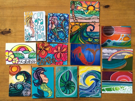 Greeting Card Set of Surf Art by Lauren Tannehill ART