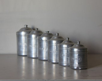 Chic French Vintage Set of 6 Aluminium Canisters