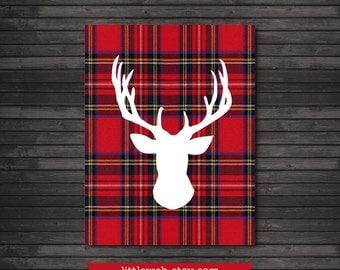 Red Plaid Christmas Printable, Christmas Art Print, Red Deer, Reindeer Art