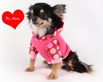 Dog Hoodie Valentine's Heart Mohawk Dog Hoodie with crochet Heart applique