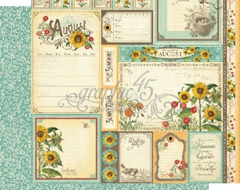 """BOTH August Pages - Graphic 45 """"Time to Flourish""""  ** See Discounted Shipping Note**"""