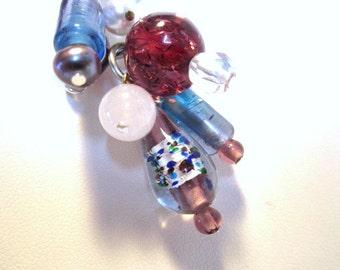 Multi Beaded, Vintage Foil, Lampwork, Pearl, Wire Wrapped Pendant Choker