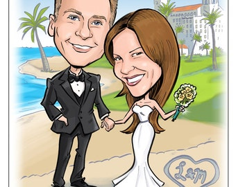 Save the date magnet – save the date card – destination wedding – custom portrait – caricature cartoon – one of a kind
