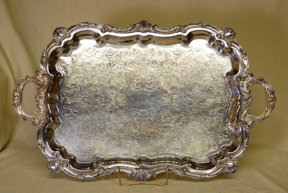vintage english silver mfg corp usa silverplated serving tray. Black Bedroom Furniture Sets. Home Design Ideas