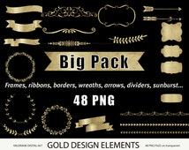 Gold design elements, gold clipart, gold digital frames, gold digital ribbon, digital banner, digital clipart, golden- 667