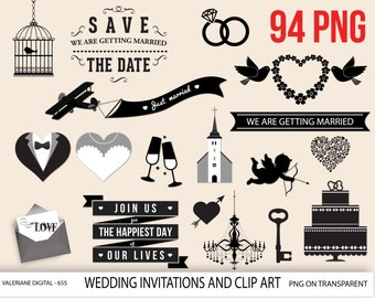 Wedding clipart, invitation, Save the date clipart, digital, clipart, digital clip art, huge pack - 655