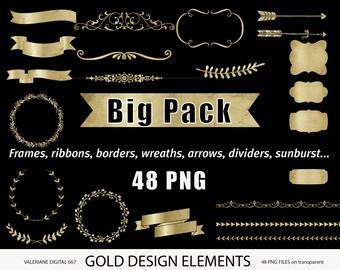 Gold design elements, gold clipart, gold digital frames, gold digital ribbon, digital banner, digital clipart, golden- 667