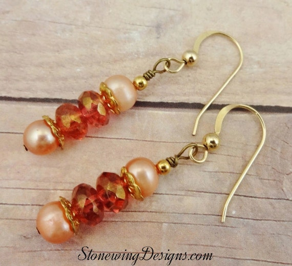 Peach Pearl and Cinnamon Czech Firepolish Earrings