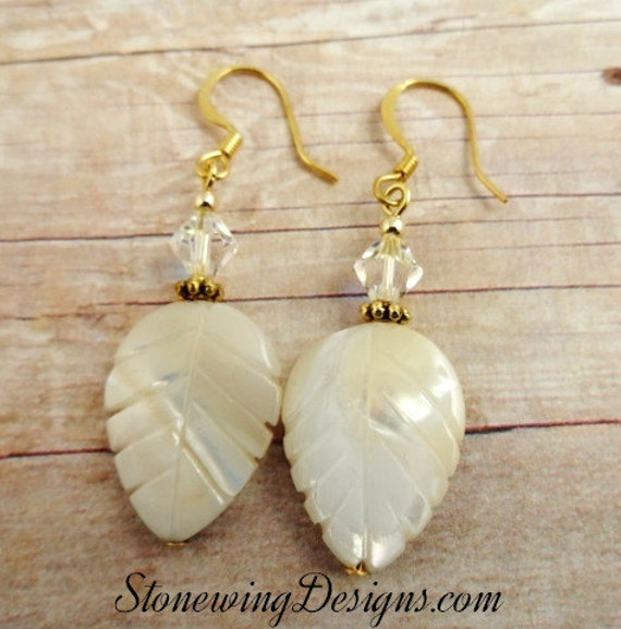 Large Mother of Pearl Leaf Earrings