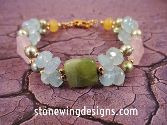 Pastel Gemstone Bracelet with Green Garnet, Aquamarine, Rose Quartz, Yellow Jade and Pearls Bracelet