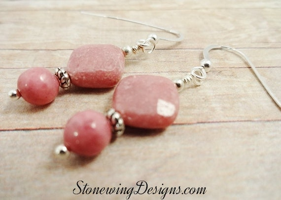 Faceted Rhodonite Square Earrings