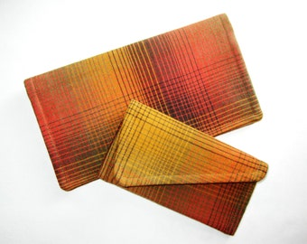 Plaid Checkbook Cover and Business Card Holder Set