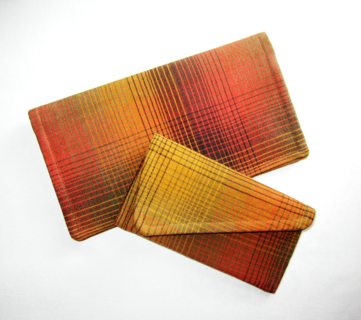 Business Checkbook Covers : Plaid checkbook cover and business card holder set by