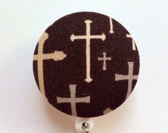 Religious Badge Reel - Cross Badge Holder - ID Name Badge - Brown Retractable Badge Reel - Nurse Gift - Fabric Badge Reel