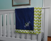 Monogrammed Minky Napping Blanket - Lime Chevron with Navy Minky