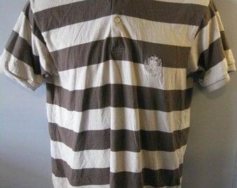 Vintage Polo Shirt Brown Striped Crest Emblem Men's Size Small S P6