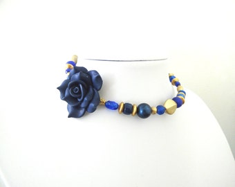 Day of the Dead Necklace Choker Rose Blue Gold