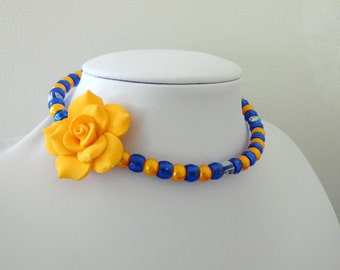 Day of the Dead Necklace Choker Rose Blue Gold Yellow