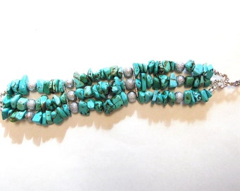 Turquoise Silver Western Bracelet Strand Wide Chunky Stone Nugget