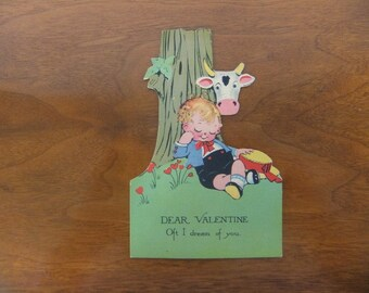 1930's Volland Unused Valentines Day Card with Mechanical Moving Cows Tongue