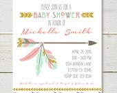 Tribal Shower or birthday Invitation pink mint gold glitter effect