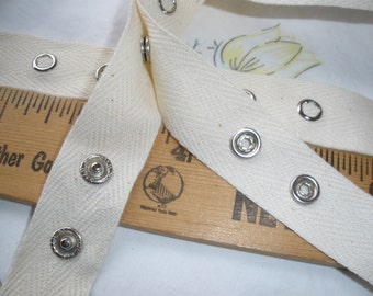 "Bulk Snap Tape Natural or White Cotton Twill silver metal 2 by 1 choose 5 or 10 yard lots 3/4"" wide hang tape 12L 8mm 5/16"" snaps yardage"
