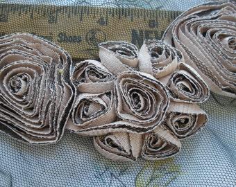 Shabby Rose Taupe Flowers Neckline Applique Embellishment on black Tulle Applique Embellish Tshirt