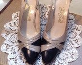 Vintage 1950s 50s Salvatore Ferragamo Sling Back Shoes / Heels /  Box / Price Tag 178.00