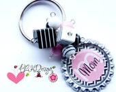 Personalized  Beaded Bottle Cap Key Chain  Black Chevron Bright Color Print Available In 6 Colors - Made to order