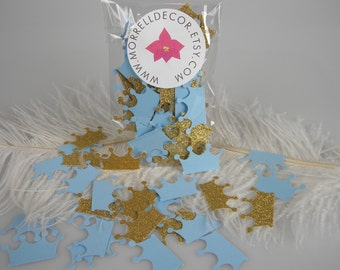 Little Prince Crowns Gold Glitter & Baby Blue Confetti Baby Boy First Birthday Decoration, Royal Prince Party Decoration, It's a Boy Shower