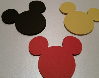 30 Disney Mickey Head/Ears Punches Die Cuts Embellishments 4 inch -- Red Black or Yellow