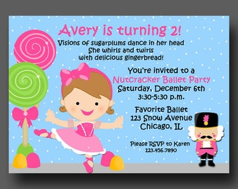Nutcracker Ballerina Princess Birthday Invitation Printable or Printed with FREE SHIPPING - You pick hair style/color and skin tone