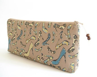 Teal Cosmetic Clutch, Wedding Bridal Purse, Women Wallet, Gift for Her, Teal Heels on Clutch