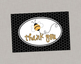 Bee Thank You Card, Bumble Bee Thank You Card, Printable Thank You Card