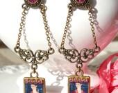 Frida Kahlo Baroque Chandelier Resin Long Earrings. Fuchsia Rhinestones. Swarovski Rhinestones. Bridal Jewelry. Gift For Her