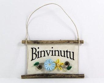 Paper Quilled Magnet 452 - Binvinutu- Sicilian Welcome, Kitchen Decor, 3D Paper Quilling Decor, Sicily Welcome Sign, Paper Ornament Decor