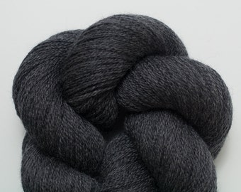 Tavern Gray Recycled Extra Fine Grade Lace Weight Merino Yarn, 797 Yards Total, Charcoal Merino