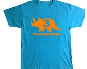 Triceratops personalized birthday shirt - any age and name - pick your colors!