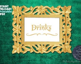 PRINTABLE Drinks Sign DIY Indian Wedding Decor Instant Download 5x7 8x10 DIY Gold Paper Goods Signage Script Elegant Budget Cheap Online New