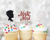 12 Glitter Wood Toppers-Bride, Groom, Mr & Mrs Cupcake and Cake Topper Picks for Wedding and Bridal Showers