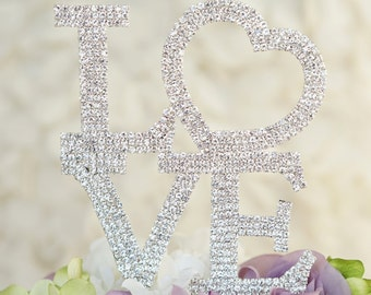 LOVE Crystal Rhinestone Wedding Cake Topper
