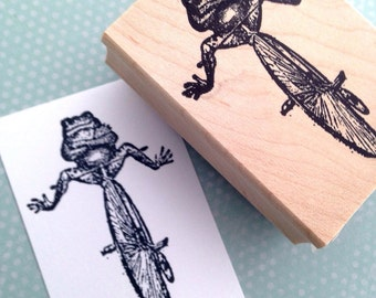 Toad on BIke Wood Mounted Rubber Stamp 4353