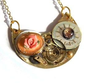 """Victorian Steampunk Necklace """"Somewhere in Time"""""""