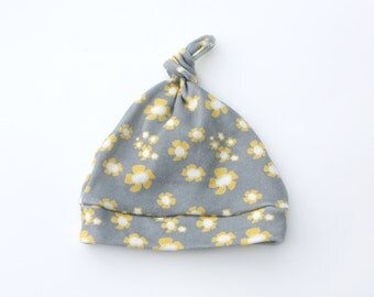 Flowers on Gray Baby Hat Organic Cotton in yellow, cream and gray Eco Friendly Baby Hat 0-6 or 6-12 months Organic Baby Hat
