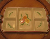 Vintage Oven Proof Serving Tray / Hand Painted / Divided Serving Dish