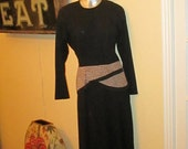 Vintage  Large Black Leopard Dress / Suede Maxi Dress  / size 10,12 by Et Al