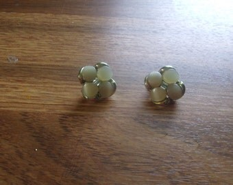 vintage clip on earrings pale yellow moonglow thermoset