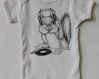 DJ Squirrel-This can get crazy!!  - Organic Infant Short-Sleeve Onesie