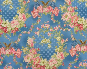 Patriotic Fabric / Americana Fabric /  American Flag,  Flower Wreath, Eagle and Stars / RJR Faded Glory  / Cadet Blue/ By the Yard